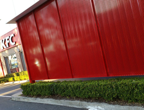METAL SCREEN & PRIVACY LOUVRE | KFC GLENELG SA COMMERCIAL PROJECT